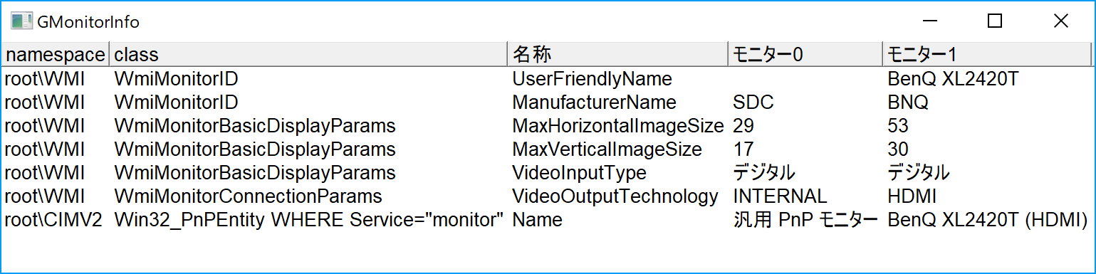 WMIを使用してディスプレイサイズ,接続方法を取得(Windows 10高